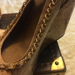 Chanel cork wedges barely worn